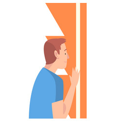 Young man holding and organizing abstract vector