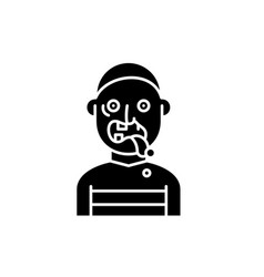 zombie black icon sign on isolated vector image