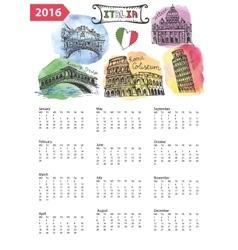 Calendar 2016italy landmarks panoramawatercolor vector