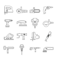 electric tools icons set outline style vector image vector image