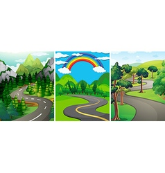 Nature scene with street and forest vector image