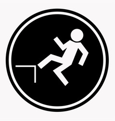 risk of falling from height of human danger sign vector image vector image