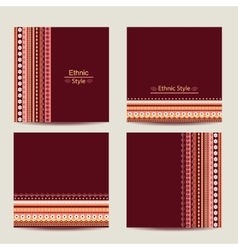 Set of cards with ethnic design Geometric vector image