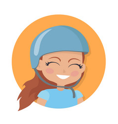 smiling girl in blue helmet simple cartoon style vector image vector image