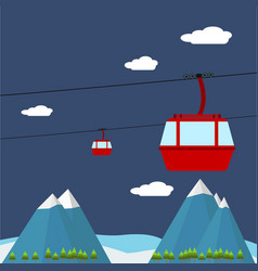 transportation cable car with big mountain backgro vector image