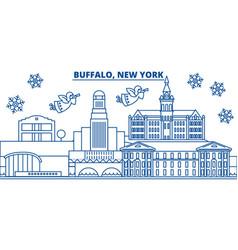 usa new york buffalo winter city skyline merry vector image vector image
