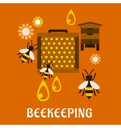 Flat beekeeping concept with beehive and bees vector image