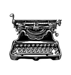 hand-drawn vintage typewriter writing machine vector image