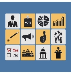Politics Voting and elections icons - icon vector image vector image