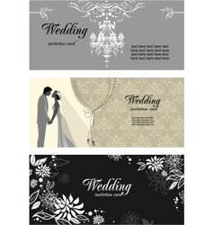Three wedding cards vector image