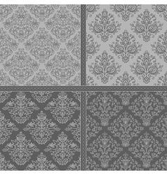 Black seamless damask floral background set vector image