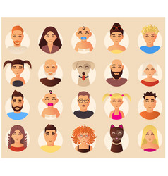 family avatars icons set in flat style vector image vector image