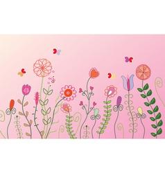 Floral pink banner vector image