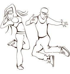 hip-hop dance boy and girl vector image vector image
