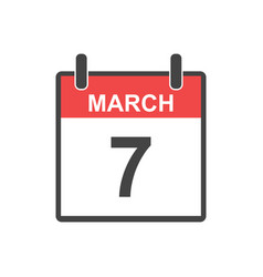 march 7 calendar icon in flat style vector image