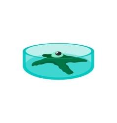 Petri dish with bacteria cartoon icon vector image