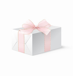 realistic mock up white locked box with bow vector image