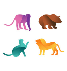 Wild animals jungle pets logo silhouette of vector