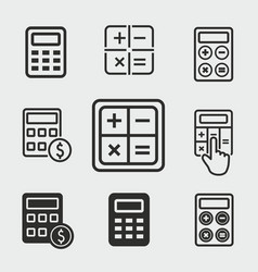 calculator icons set vector image vector image