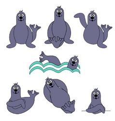cute seal set vector image vector image