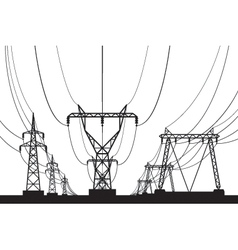 Electrical transmission towers in perspective vector image vector image