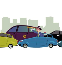 Stuck in traffic vector image vector image