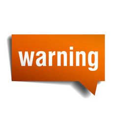 warning orange speech bubble isolated on white vector image