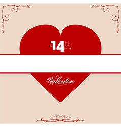14th Valentine red heart with floral frame vector