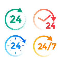 24 hours a day service icons set vector