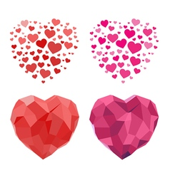 2d and polygonal heart for valentines day vector image