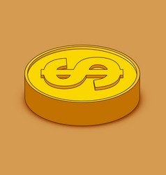 3d cartoon gold coin icon us dollar money vector image