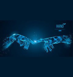 abstract two hands touching moments vector image