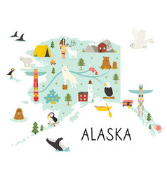 alaska map with animals and symbols vector image