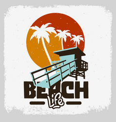 beach life lifeguard tower station rescue vector image