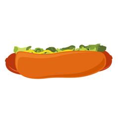 big hot dog with salad ketchup and mustard vector image