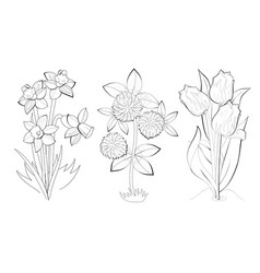 Black and white page for baby coloring book set vector