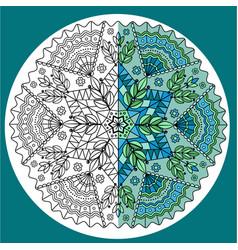 blue-green mandala colored in half vector image