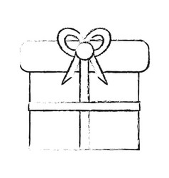 Blurred silhouette giftbox with wrapping bow vector