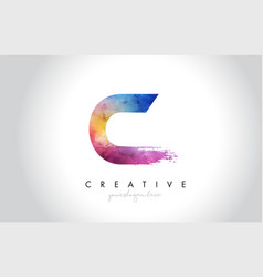 c paintbrush letter design with watercolor brush vector image