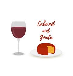 Cabernet with gouda cartoon flat style vector