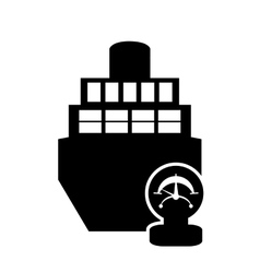 cargo ship and manometer icon vector image