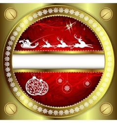 Christmas Golden design on a red background vector image