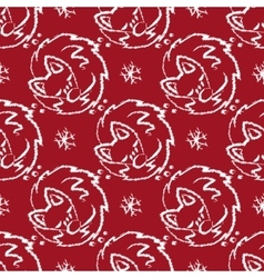Christmas pattern with foxes sleeping and vector image