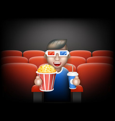 cinema pall 3d glasses big popcorn soda water male vector image