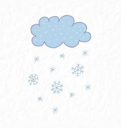 Cloud and snowflakes nursery art minimalist vector