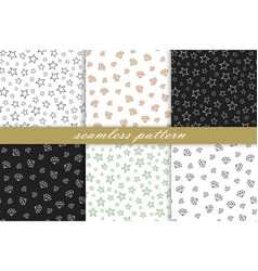 collection seamless pattern diamonds and stars vector image