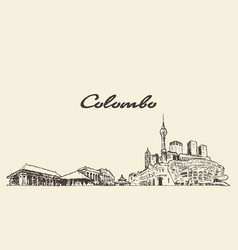 colombo skyline shri lanka drawn sketch vector image