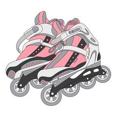 color roller skates 02 vector image