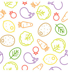 colorful vegetable line seamless pattern chinese vector image