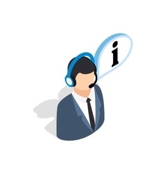 Consultant on phone icon isometric 3d style vector